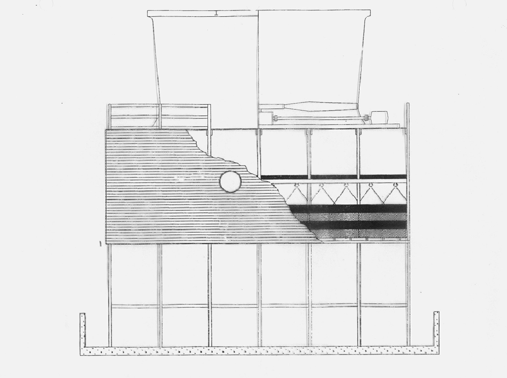 drawing of a induced draft counterflow tower