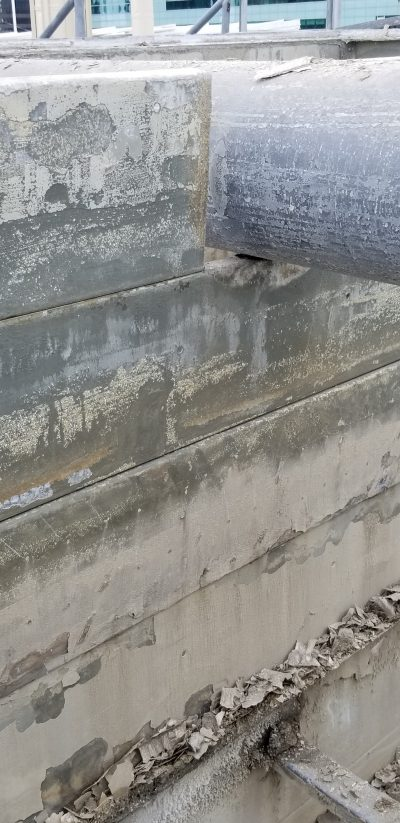sanded down panel of a cooling tower