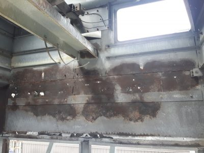 cooling tower, rusted interior panels