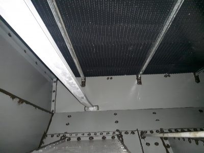 recently painted cooling tower interior under the fill line