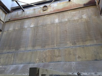 interior of counter flow cooling tower before repair; wall rusted