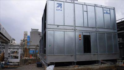 packaged steel crossflow tower side view of steel panels with access door open
