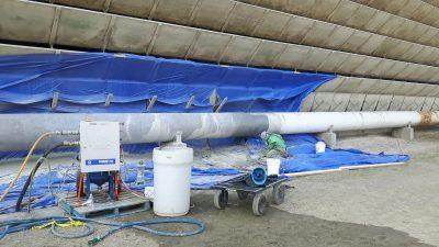 industrial tower repair, painting the pipe below the louvers