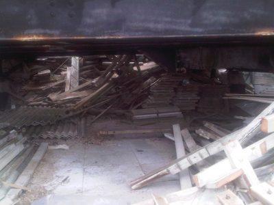 debris of a demolished tower