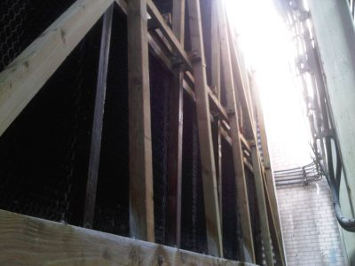 side view of wood frame of tower fill
