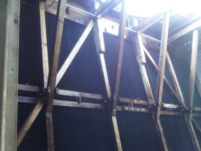 interior view of wood frame and fill of a cooling tower