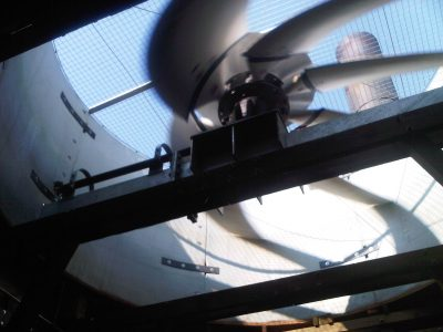 view of a moving fan from below
