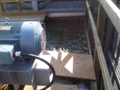 hot water basin and partial view of motor