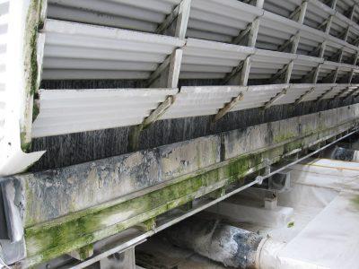 Crossflow Tower metal louvers in disrepair