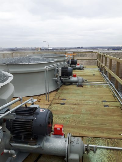Rooftop view of newly replaced fans with motors