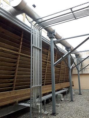 Crossflow tower newly rebuilt wood louvers