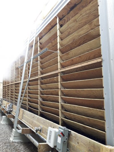 Crossflow tower newly replaced wood louvers
