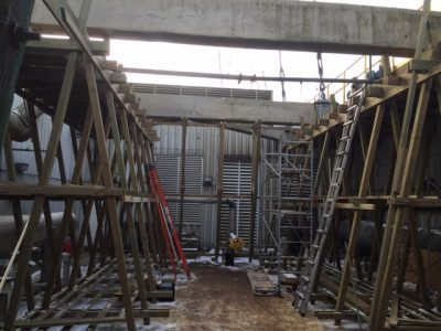 Crossflow Tower Structural Rebuild Interior midway through framing